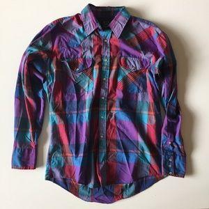 Vintage Shirts - Vintage Men's Plaid Pearl Snap Button Shirt Size L